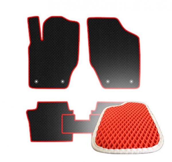 Комплект ковриков EVA - Красная основа, белый кант