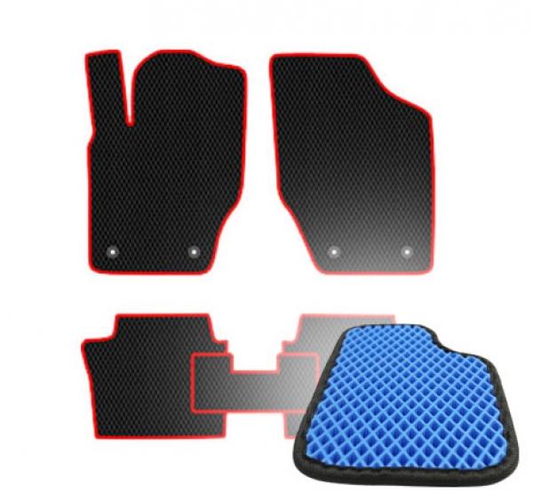 Комплект ковриков EVA - Синяя основа, черный кант