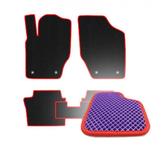 Комплект ковриков EVA - Фиолетовая основа, красный кант