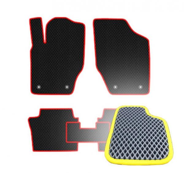 Комплект ковриков EVA - Черная основа, желтый кант
