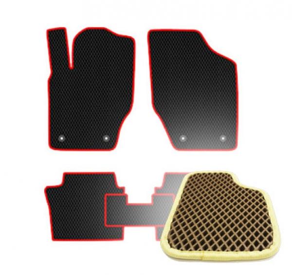 Комплект ковриков EVA - Коричневая основа, бежевый кант