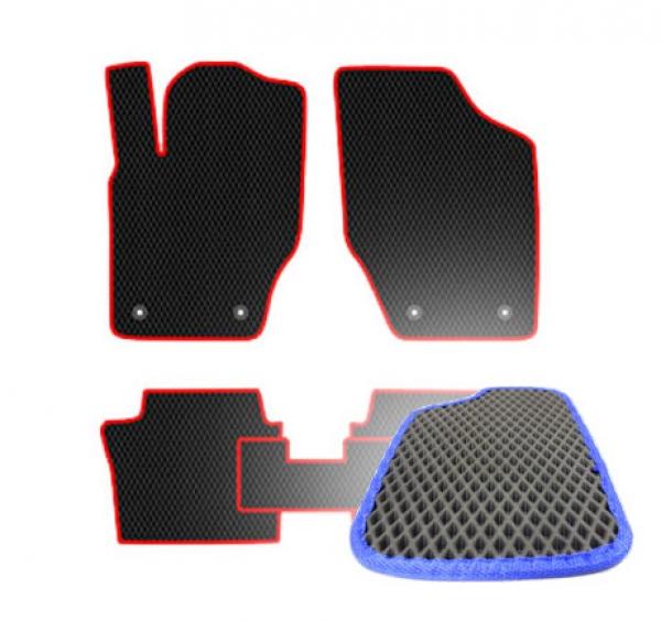 Комплект ковриков EVA - Черная основа, синий кант