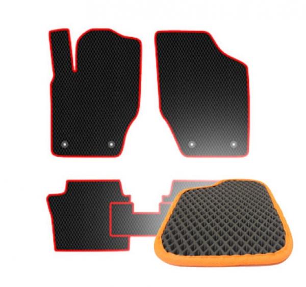 Комплект ковриков EVA - Черная основа, оранжевый кант