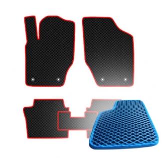 Комплект ковриков EVA - Синяя основа, синий кант