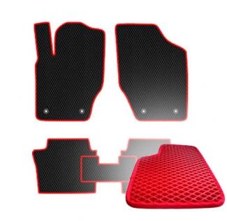 Комплект ковриков EVA - Красная основа, красный кант