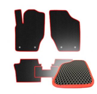Комплект ковриков EVA - Черная основа, красный кант