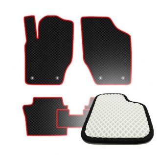 Комплект ковриков EVA - Белая основа, берный кант