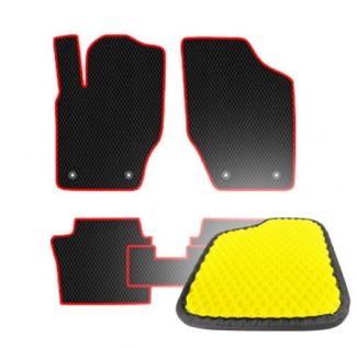 Комплект ковриков EVA - Желтая основа, черный кант