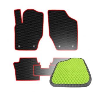 Комплект ковриков EVA - Салатовая основа, черный кант